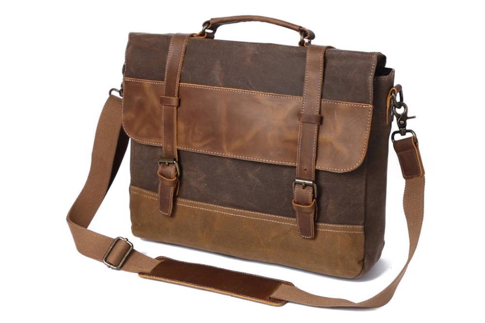 Waxed Canvas Leather Messenger Bag, Men's Shoulder Bag FX8806    MoshiLeatherBag - Handmade Leather Bag Manufacturer