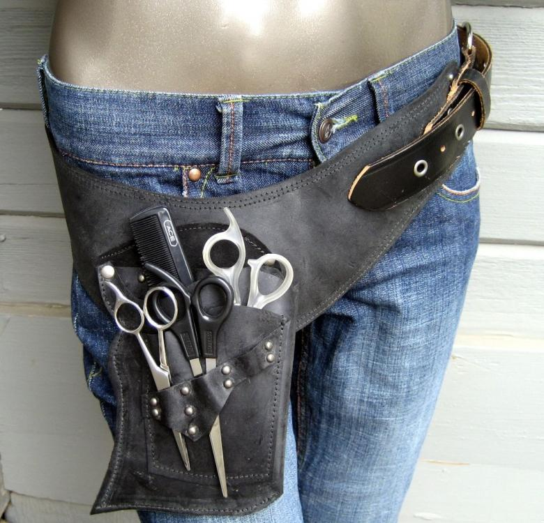 Hair Stylist shear/scissor holster/pouch. - totally cool | Stylist tools,  Barbershop design, Leather