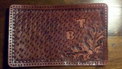 first wallet after tooling and dyeing