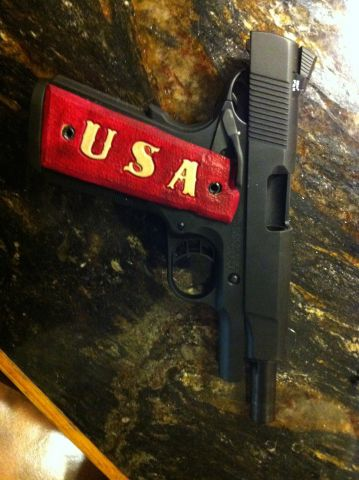 Fusion Firearms 1911 10mm Custom Leather Grips