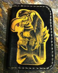 Tattooed Leather Card Wallet,