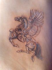 Pegasus stencil carved