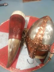 Shield Helmet and the horn with hand tooled holder