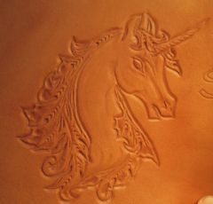 Detail Of Tooled Leather Unicorn Logo