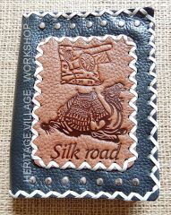 Silk road . Handmade leather notebook
