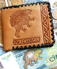 "Old Uzbekistan symbol - ""Sher Dor "" on leather wallet"