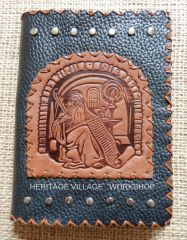 Handmade leather notebook .