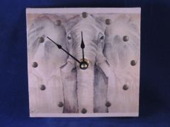 Elephant picture w/antique brass rivets