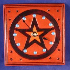 Stars Leather Clock