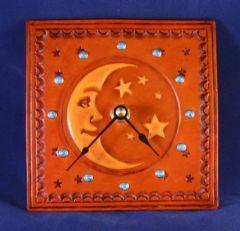 Leather Moon & Stars Clock