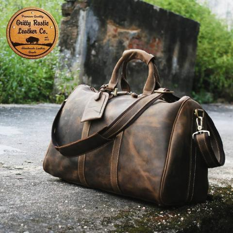 Rugged rusty brown weekender duffel bag