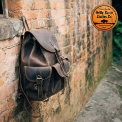 Dark cocoa classic style leather backpack