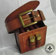 """Rustic Shell Pouch for 12ga Shell Box with """"Holy"""" Loops and Matching Belt"""