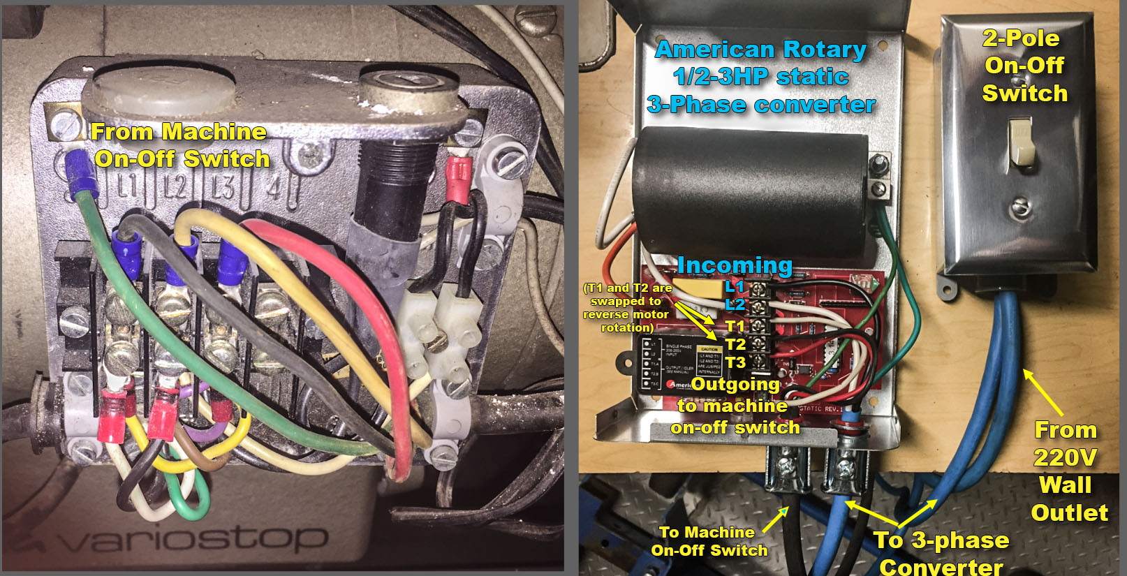 Converting Efka 3 Phase To Single Without Convertor Leather Sewing Mitsubishi Electric Motor Wiring Diagram I Did Swap T1 And T2 Wires Inside The Converter Change Rotation Of You Will Read In Many Places That A