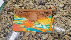 Tooled leather and canvas wristlet