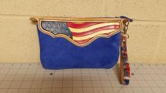 Flag themed suede wristlet