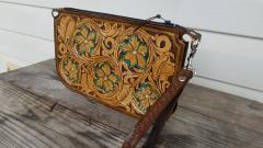 Tooled leather wristlet