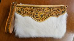 Hair-on cowhide wristlet