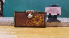Tooled leather ladies clutch